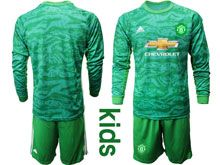 Youth 19-20 Soccer Manchester United Club ( Custom Made ) Green Goalkeeper Long Sleeve Suit Jersey