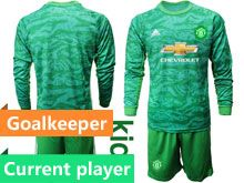 Youth 19-20 Soccer Manchester United Club Current Player Green Goalkeeper Long Sleeve Suit Jersey