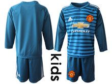 Youth 19-20 Soccer Manchester United Club ( Custom Made ) Blue Stripe Goalkeeper Long Sleeve Suit Jersey