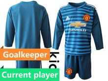 Youth 19-20 Soccer Manchester United Club Current Player Blue Stripe Goalkeeper Long Sleeve Suit Jersey