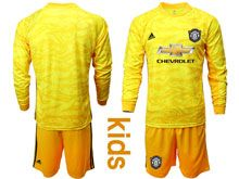 Youth 19-20 Soccer Manchester United Club ( Custom Made ) Yellow Goalkeeper Long Sleeve Suit Jersey