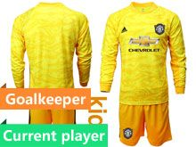 Youth 19-20 Soccer Manchester United Club Current Player Yellow Goalkeeper Long Sleeve Suit Jersey