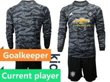 Youth 19-20 Soccer Manchester United Club Current Player Black Goalkeeper Long Sleeve Suit Jersey