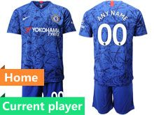 Mens 19-20 Soccer Chelsea Club Current Player Blue Home Short Sleeve Suit Jersey