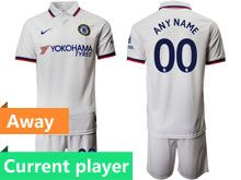 Mens 19-20 Soccer Chelsea Club Current Player White Away Short Sleeve Suit Jersey