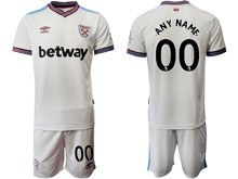 Mens 19-20 Soccer West Ham United Club ( Custom Made ) White Home Short Sleeve Suit Jersey