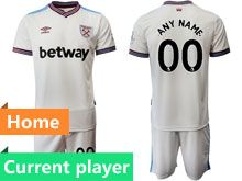 Mens 19-20 Soccer West Ham United Club Current Player White Home Short Sleeve Suit Jersey