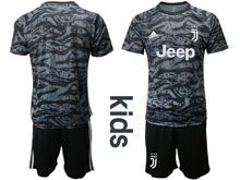 Youth 19-20 Soccer Juventus Club ( Custom Made  ) Black Goalkeeper Short Sleeve Suit Jersey
