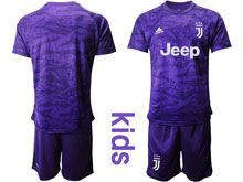 Youth 19-20 Soccer Juventus Club ( Custom Made  ) Purple Goalkeeper Short Sleeve Suit Jersey