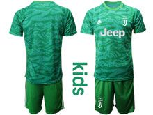 Youth 19-20 Soccer Juventus Club ( Custom Made  ) Green Goalkeeper Short Sleeve Suit Jersey