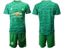 Mens 19-20 Soccer Manchester United Club ( Custom Made ) Green Goalkeeper Short Sleeve Suit Jersey
