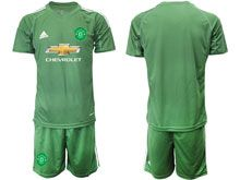 Mens 19-20 Soccer Manchester United Club ( Custom Made ) Army Green Goalkeeper Short Sleeve Suit Jersey