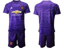 Mens 19-20 Soccer Manchester United Club ( Custom Made ) Purple Goalkeeper Short Sleeve Suit Jersey