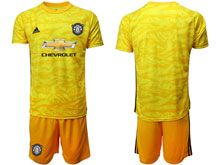 Mens 19-20 Soccer Manchester United Club ( Custom Made ) Yellow Goalkeeper Short Sleeve Suit Jersey