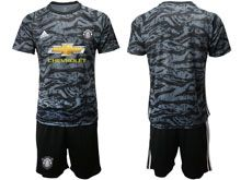 Mens 19-20 Soccer Manchester United Club ( Custom Made ) Black Goalkeeper Short Sleeve Suit Jersey