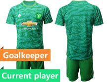 Mens 19-20 Soccer Manchester United Club Current Player Green Goalkeeper Short Sleeve Suit Jersey