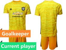Mens 19-20 Soccer Manchester United Club Current Player Yellowgoalkeeper Short Sleeve Suit Jersey