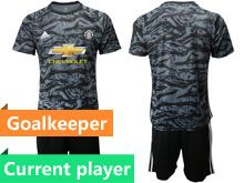 Mens 19-20 Soccer Manchester United Club Current Player Black Goalkeeper Short Sleeve Suit Jersey