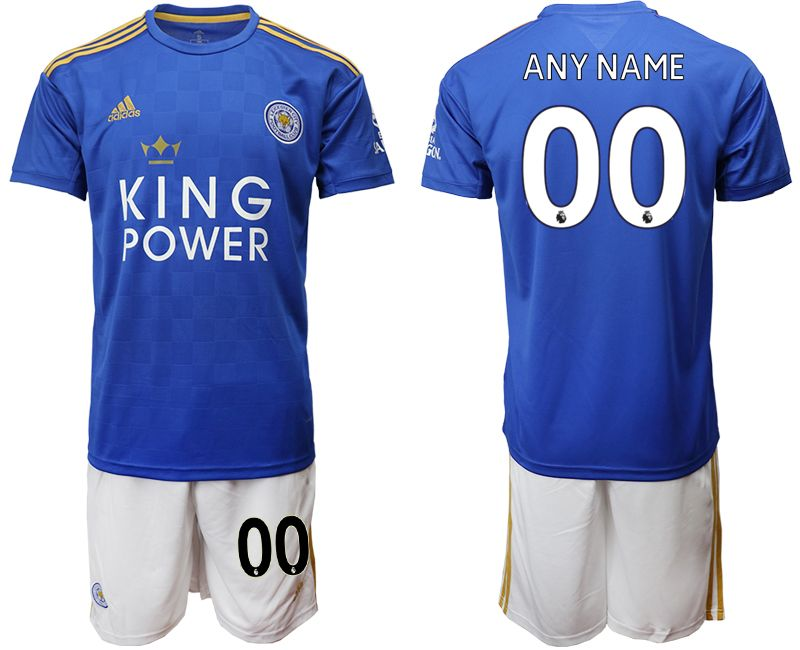 Mens 19-20 Soccer Leicester City Club Current Player Blue Home Short Sleeve Suit Jersey