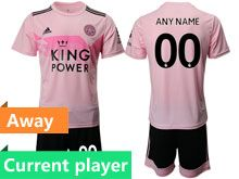 Mens 19-20 Soccer Leicester City Club Current Player Pink Away Short Sleeve Suit Jersey