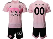 Mens 19-20 Soccer Leicester City Club ( Custom Made ) Pink Away Short Sleeve Suit Jersey