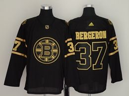 Mens Nhl Boston Bruins #37 Patrice Bergeron Black Golden Adidas Jersey