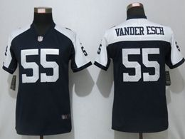 Women Dallas Cowboys #55 Leighton Vander Esch Blue Thanksgiving Vapor Untouchable Limited Jersey