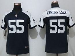 Women Dallas Cowboys #55 Leighton Vander Esch Blue Thanksgiving Vapor Untouchable Limited Jersey