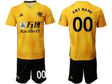 Mens 19-20 Soccer Wolverhampton Wanderers F.c. Club ( Custom Made ) Yellow Home Short Sleeve Suit Jersey