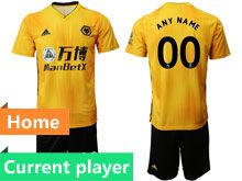 Mens 19-20 Soccer Wolverhampton Wanderers F.c. Club Current Player Yellow Home Short Sleeve Suit Jersey
