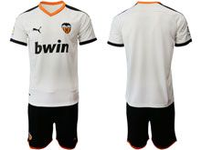 Mens 19-20 Soccer Valencia Cf ( Custom Made ) White Home Short Sleeve Suit Jersey