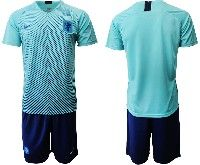 Mens 19-20 Soccer Holland Ntaional Team ( Custom Made )  Blue Away Nike Short Sleeve Suit Jersey