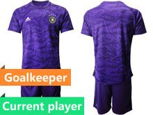 Mens 19-20 Soccer Germany Ntaional Team Current Player Purple Goalkeeper Short Sleeve Suit Jersey