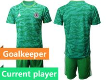 Mens 19-20 Soccer Germany Ntaional Team Current Player Green Goalkeeper Short Sleeve Suit Jersey