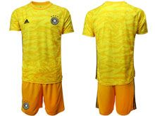 Mens 19-20 Soccer Germany Ntaional Team ( Custom Made ) Yellow Goalkeeper Short Sleeve Suit Jersey