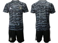 Mens 19-20 Soccer Germany Ntaional Team ( Custom Made ) Black Goalkeeper Short Sleeve Suit Jersey