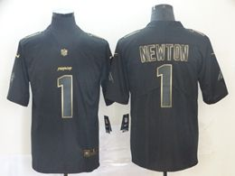 Mens Nfl Carolina Panthers #1 Cam Newton Black Golden Vapor Untouchable Limited Jersey