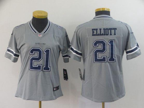 Women Youth Nfl Dallas Cowboys #21 Ezekiel Elliott Gray Nike Inverted Legend Jersey