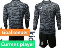 Youth 19-20 Soccer Germany Ntaional Team Current Player Black Goalkeeper Short Sleeve Suit Jersey