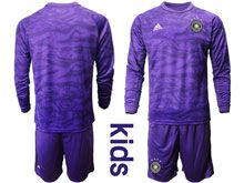 Youth 19-20 Soccer Germany Ntaional Team ( Custom Made ) Purple Goalkeeper Short Sleeve Suit Jersey