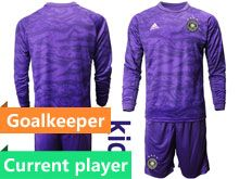 Youth 19-20 Soccer Germany Ntaional Team Current Player Purple Goalkeeper Short Sleeve Suit Jersey