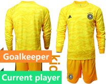 Youth 19-20 Soccer Germany Ntaional Team Current Player Yellow Goalkeeper Short Sleeve Suit Jersey