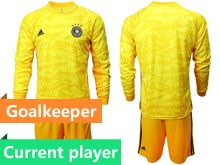 Mens19-20 Soccer Germany Ntaional Team Current Player Yellow Goalkeeper Short Sleeve Suit Jersey