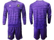 Mens 19-20 Soccer Germany Ntaional Team ( Custom Made ) Purple Goalkeeper Short Sleeve Suit Jersey