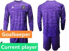 Mens19-20 Soccer Germany Ntaional Team Current Player Purple Goalkeeper Short Sleeve Suit Jersey
