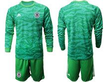 Mens 19-20 Soccer Germany Ntaional Team ( Custom Made ) Green Goalkeeper Short Sleeve Suit Jersey