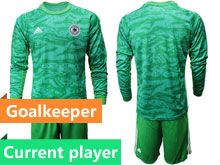 Mens19-20 Soccer Germany Ntaional Team Current Player Green Goalkeeper Short Sleeve Suit Jersey