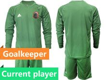 Mens 19-20 Soccer Mexico National Team Current Player Green Goalkeeper Long Sleeve Suit Jersey