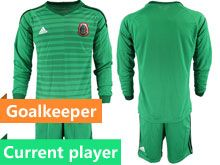 Mens 19-20 Soccer Mexico National Team Current Player Stripe Green Goalkeeper Long Sleeve Suit Jersey