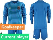 Mens 19-20 Soccer Mexico National Team Current Player Stripe Blue Goalkeeper Long Sleeve Suit Jersey
